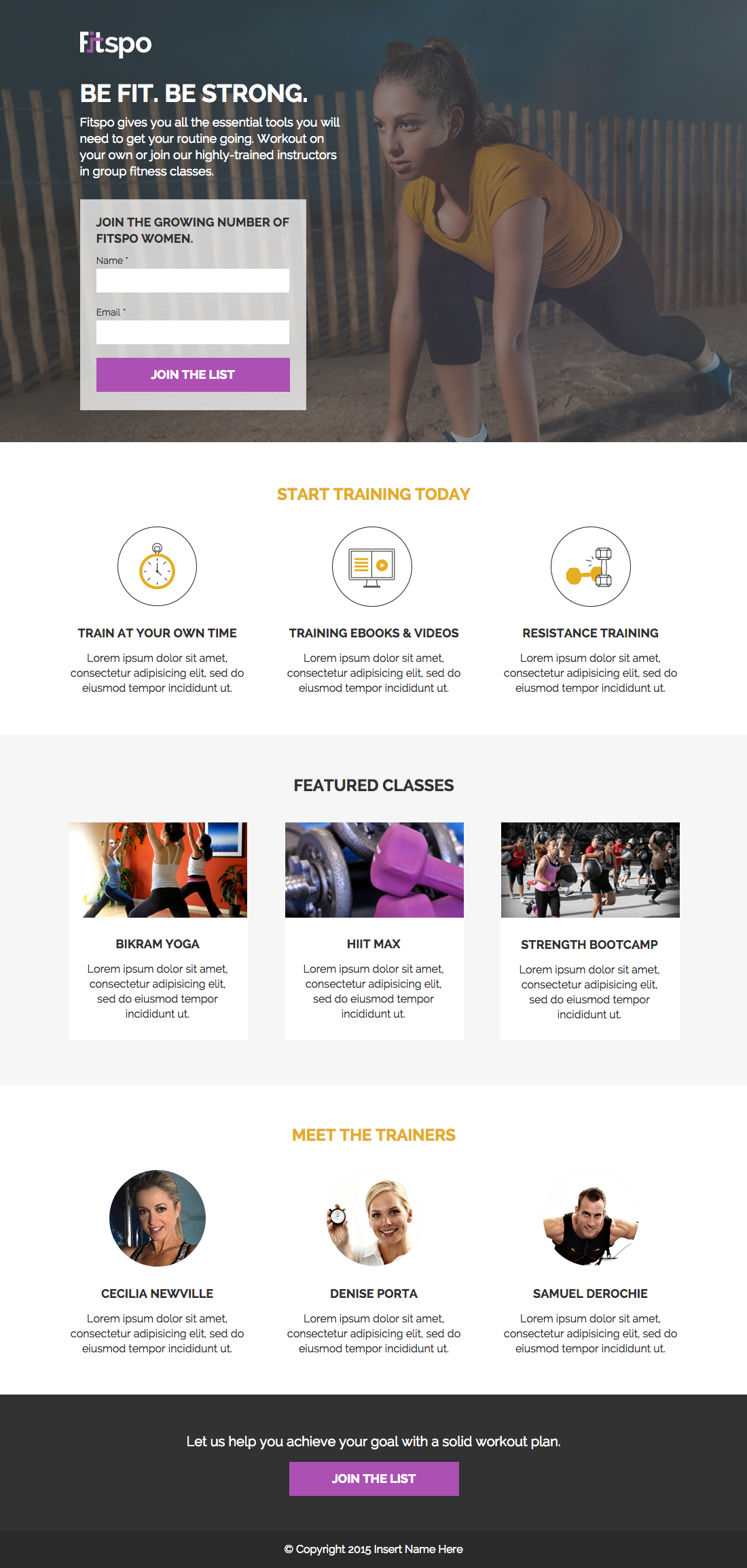 Fitspo Landing Page Example